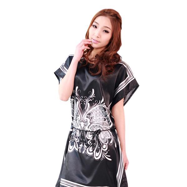 New Women Faux Silk Butterfly Pattern Sleepwear Gown Robe Dress