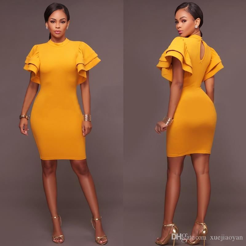 949689342d82b Wholesale Party Dresses Sexy Black Bodycon Dresses Womans 2018 Spring  Summer Clothes Ladies Dresses Elegant Party Wear Dinner Yellow