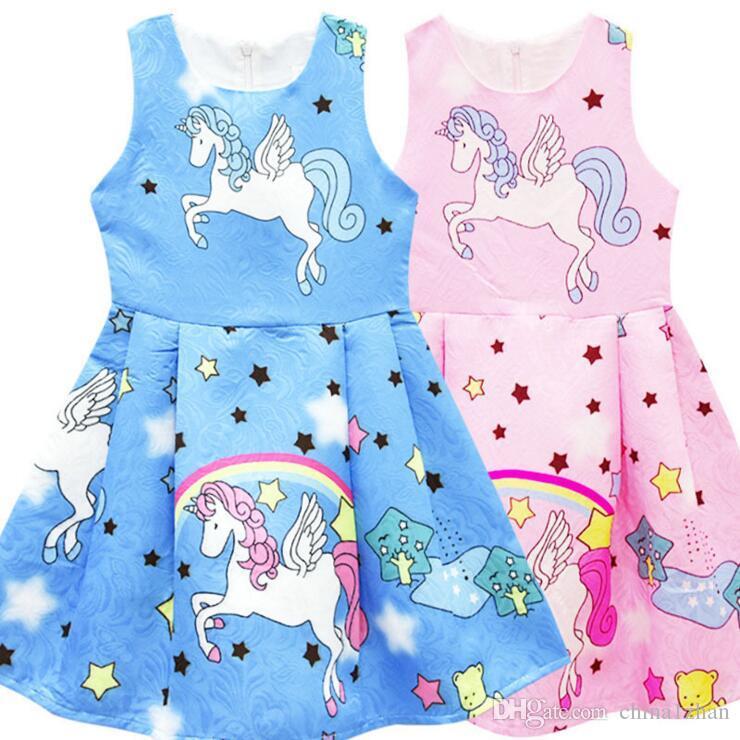 6925d232dcab INS Baby Girls Dress Unicorn Stars Girl Sleeveless Skirt Cartoon ...