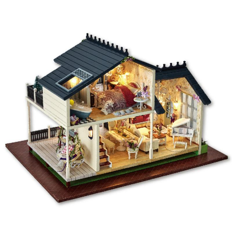 Dollhouse Miniature 1:12 Diy Doll House Provence Miniature Wooden Building  Model Furniture Model For Child Toys Birthday Gifts Girls Dolls House Cheap  Dolls ...