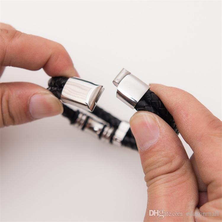 Gioielli da uomo Doppio strato Bracciale in acciaio al titanio con magnete in acciaio inossidabile Bracciale in acciaio di alta qualità con D715LR