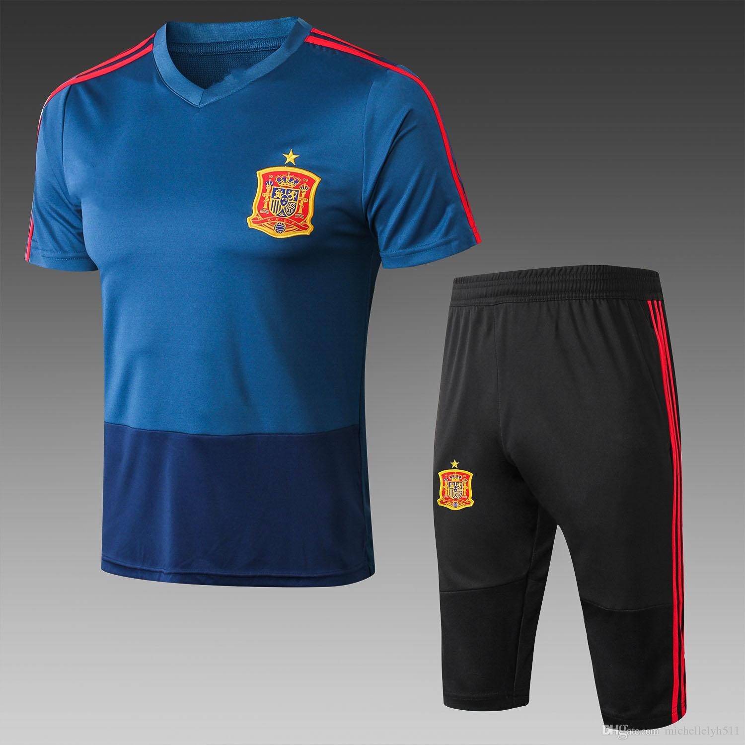 2019 18 19 Spain Soccer Tracksuits Mens Short Sleeve Football Suits  Athletic Training Suits Argentina Adults Thai Quality Outdoor Sports Sets  From ... af95ab45a