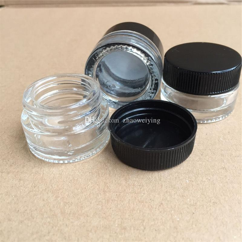 Glass Wax Container Round Shape Glass Bottles 5ml Clear Glass Container Concentrate Dab Jars With Black Lids