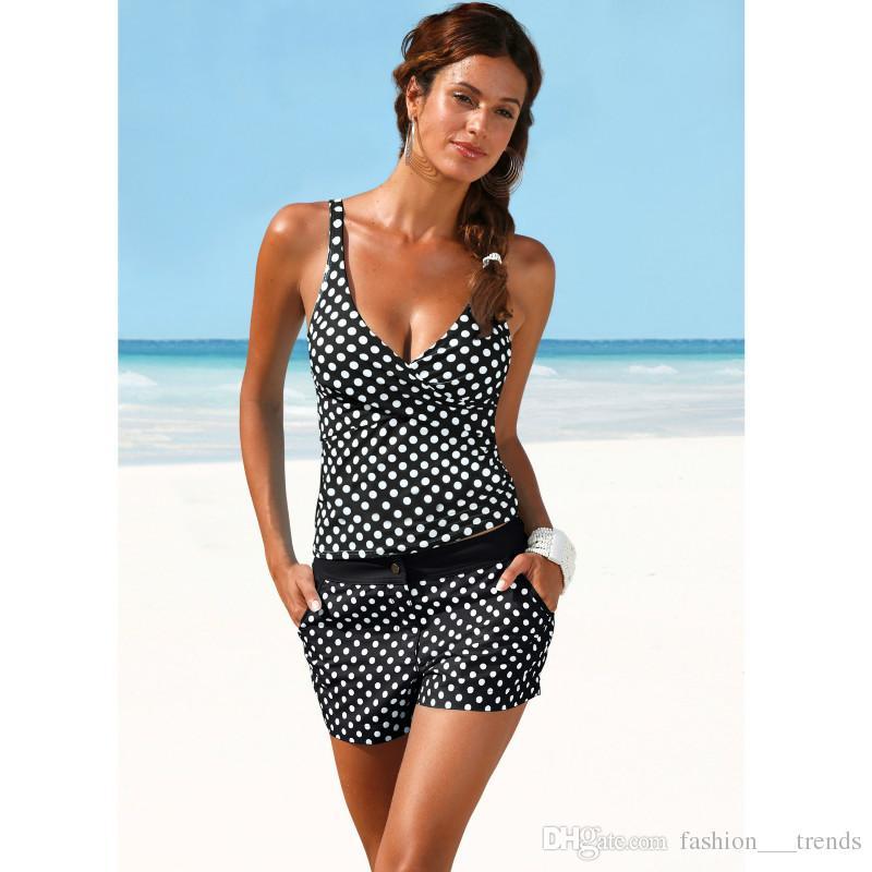 5abc6f46e691 Compre Tankini Dot Bikini Set Mulheres Swimwear Shorts Maiô Cintura Alta  Maiô Acolchoado Terno De Natação Para As Mulheres Acolchoado Beachwear  Halter ...