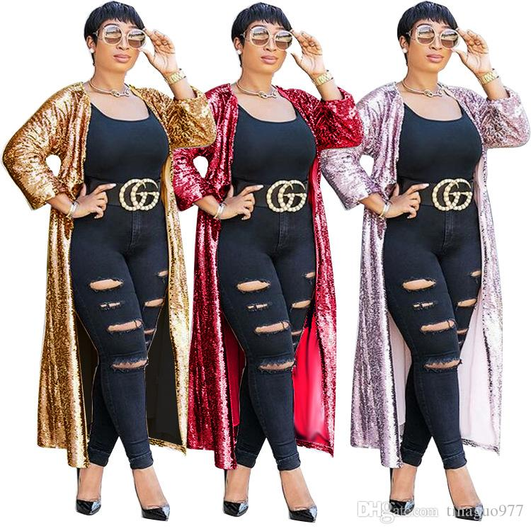 c9de9f75cd8 2019 Sequined Women Cardigan Autumn Sheer Long Sleeve Open Front Long Coat  Glitter Club Maxi Cardigan Gold Red From Tinaguo977