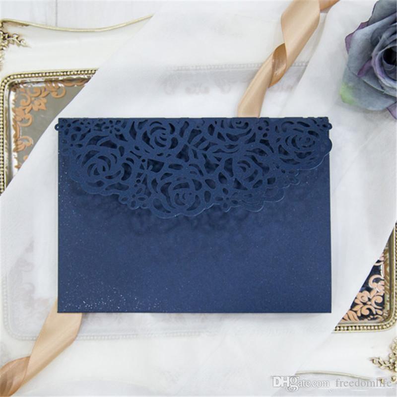 Sıcak Satış Lacivert Lazer Kesim Düğün Davetiyeleri Kartları 2018 Yeni Tasarım düğün davetiyesi kişiselleştirilmiş Gelin Davetiye Ucuz