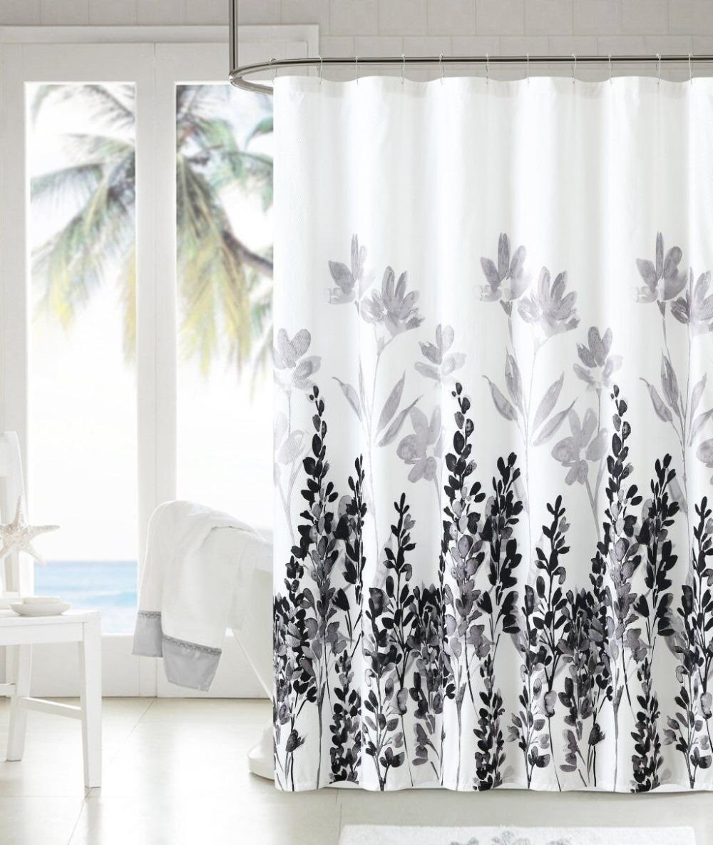 2018 Waterproof Polyester Shower Curtain With 12 Plastic Hooks ...
