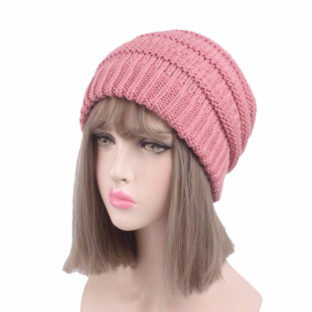 94bbdb8e9c2 Women Autumn Winter Warm Caps Ponytail Hat Girls Knitted Casual ...