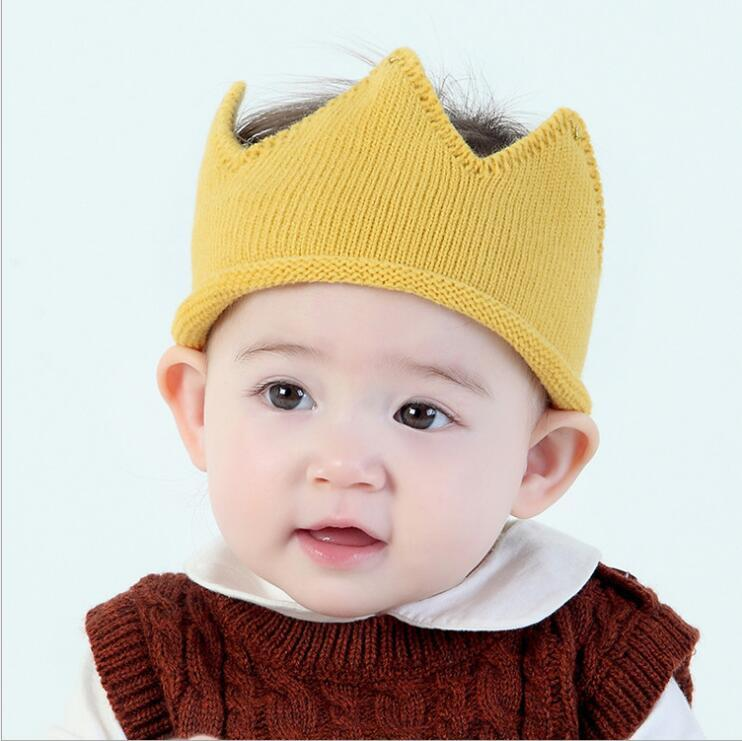 2018 new colors knitting spring cute crown hat solid color baby hat for girl free shipping