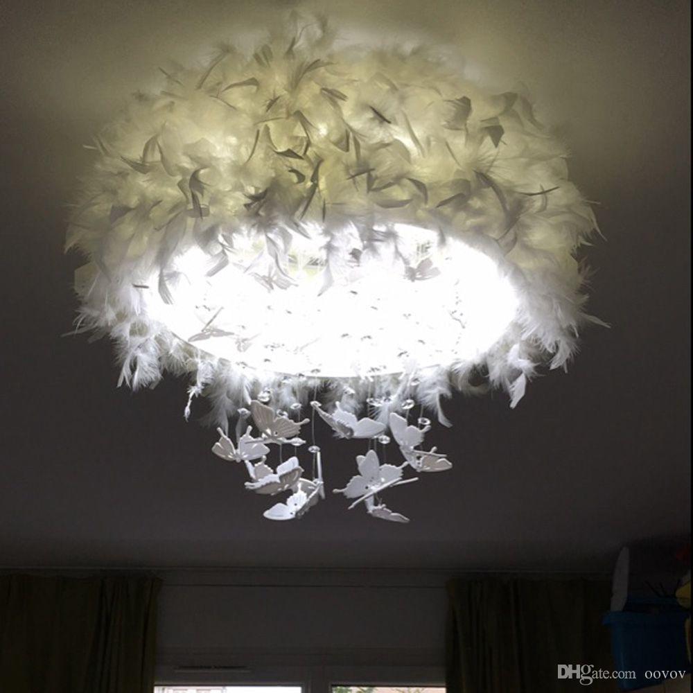 OOVOV Yuvarlak Beyaz Tüy Kristal Tavan Işık, 24 W, LED, Akrilik, Kelebek, Yatak Odası, Prenses Odası, Oturma Odası