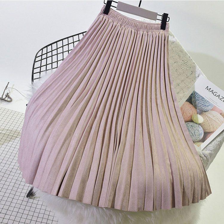 6a808cd2e 2019 2018 High Quality Autumn Winter Women Suede Skirt Long Pleated ...