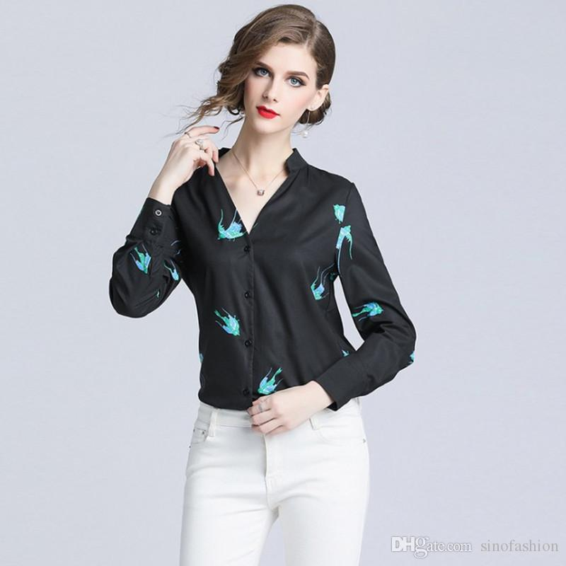 4aae1dd4ebf5 2019 Career Office Work Shirt V Neck Printing Tops Blouse Single Breasted  Slim Women Autumn Black Shirts From Sinofashion