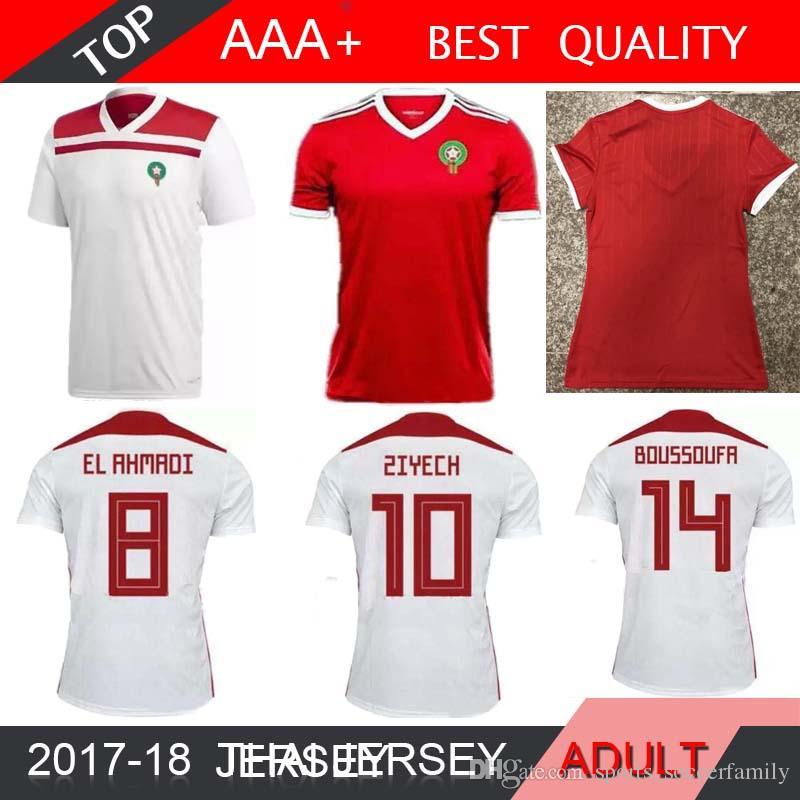 1cfe8cf2b Compre 2018 Copa Do Mundo Marrocos MULHERES Home Away ZIYECH BENATIA EL  AHMADI Camisa De Futebol 2018 2019 Morocco MEN Camisa De Futebol Camisa De  Futebol.