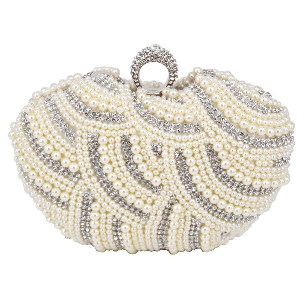 شكل قلب مطرز حقيبة مخلب أسود أبيض لؤلؤة مساء حقيبة بيضاء إصبع النساء حفل زفاف العرسان محفظة الإناث حقائب 824