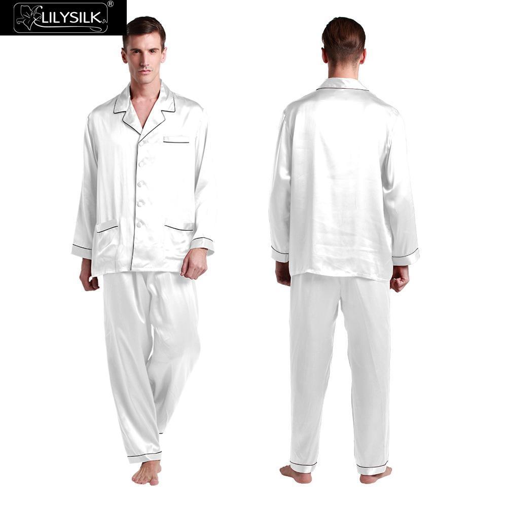 9066b0d8c19f5 LILYSILK Pajamas Set Mens Silk With Contrast Trim 22 Momme Pajama ...