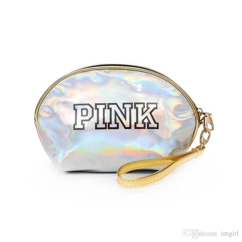 b735ce8616b Compre PINK Láser Bolsa De Cosméticos Bolsas De Maquillaje Impermeables  Mujeres Láser Flash Bolsos De Cuero De Diamantes Monedero De Los Niños DHL  A $3.12 ...