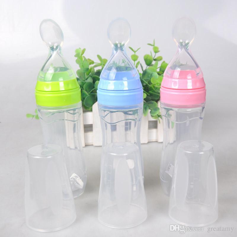 Yeni 1200 ml Bebek Biberon ile Şişe Silikon Şişe Besleme Bebek Gıda Takviyesi Pirinç Tahıl 3 Renk En Kaliteli