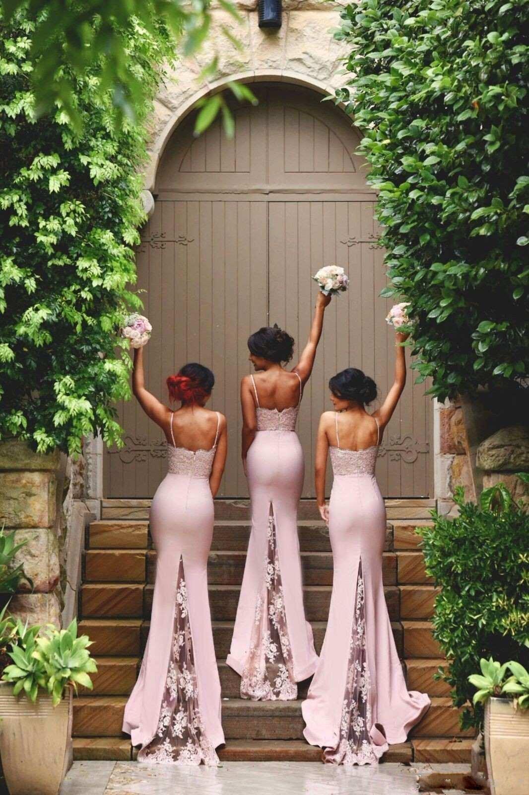 2018 Blush Pink Mermaid Bridesmaid Dress Spaghetti Strap Sleeveless Lace Sweep Train Junior Country Bridesmaid Long Maid Of Honor Dress
