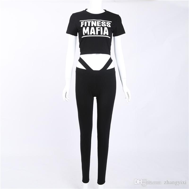 Wholesale Women Yoga Sets Letter Print Fitness Workout Clothing Gym Running Girls Sexy Slim Sport Wear Suit