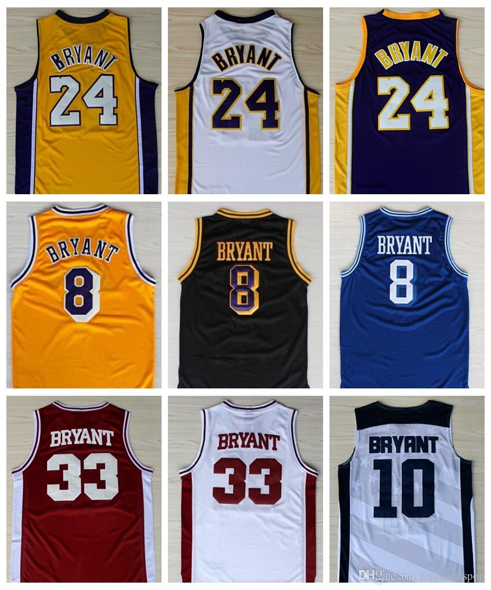 17b9e98247b0 2019 Top Quality  24 Kobe Bryant Jersey Purple White Black Yellow Throwback   8 Kobe Bryant Lower Merion High School College Basketball Jerseys From ...