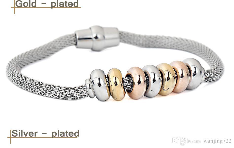 MNWT Women Magnet Net Chain Bracelet Jewelry Stainless Steel Beads Charm Fashion Simplicity Bracelets Golden Silver Optional