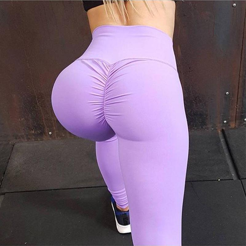 c5a6d4419e914 8colors Solid Booty Up Sports Legging Women's Compression Dry sweat Butt  Lift Workout Leggings Hip Push Up Stretch Yoga Pants