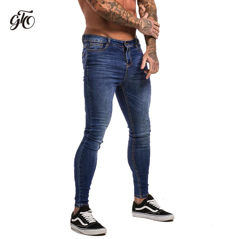 best service 47324 207ea Gingtto Blue Jeans Slim Fit Super Skinny Jeans For Men Street Wear Hio Hop  Ankle Tight Cut Closely To Body Big Size Stretch zm05 S1012