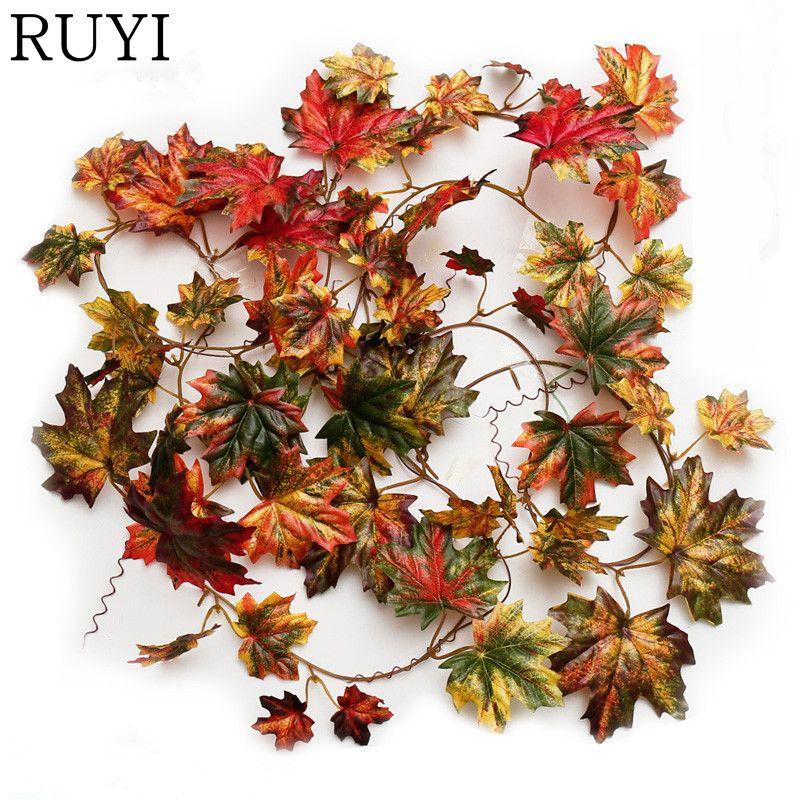Fleurs décoratives artificielles automne feuille d érable guirlande de soie  longue vigne mariage décoration de jardin décoration
