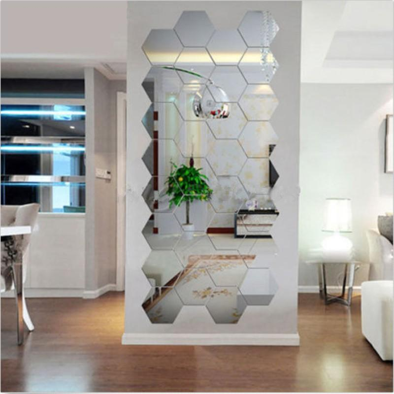 Mirror Sticker Wall Stickers Poster Acrylic Silver 3D Hexagonal for Home Decoration DIY Creative Removable Decor Hot Sale