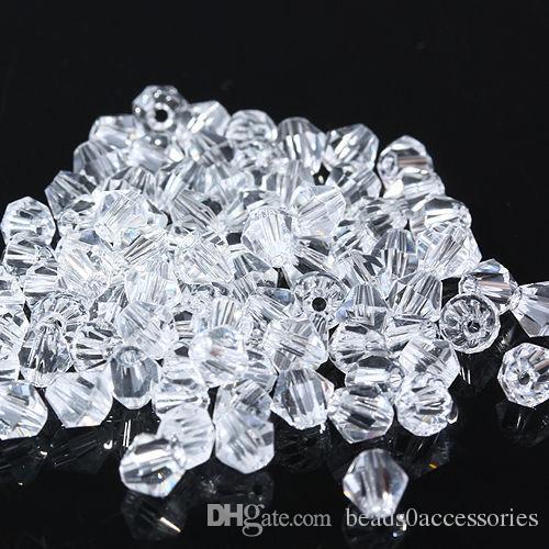 حبات زجاج BICONE زجاجية بيضاء واضحة 4MM # 5301 الخرز المبسط لصناعة المجوهرات