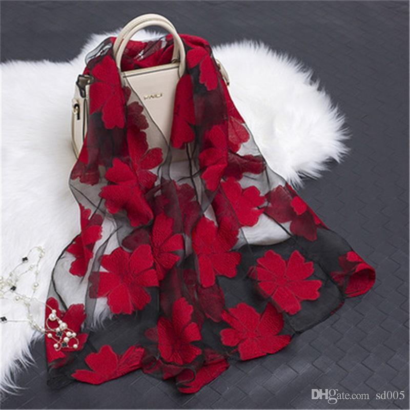 New Hot Bandana Silk Scarf Women Luxury Hijab Embroidery Long Scarf Black Lace Yarn Scarves Fashion Shawl Girl Accessories Apparel Accessories