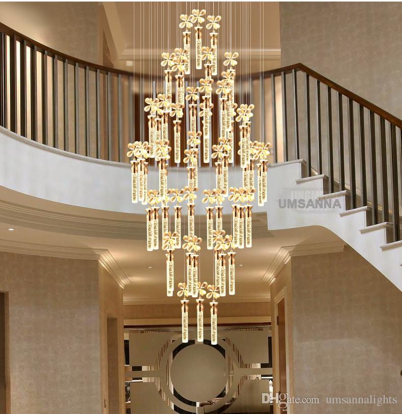 LED Moderna Lustre de Cristal Bar Da Bolha Lustres Americanos Luzes Luminária Grande Escada Longa Luzes de Suspensão Para Casa Iluminação Interior Lâmpadas LED