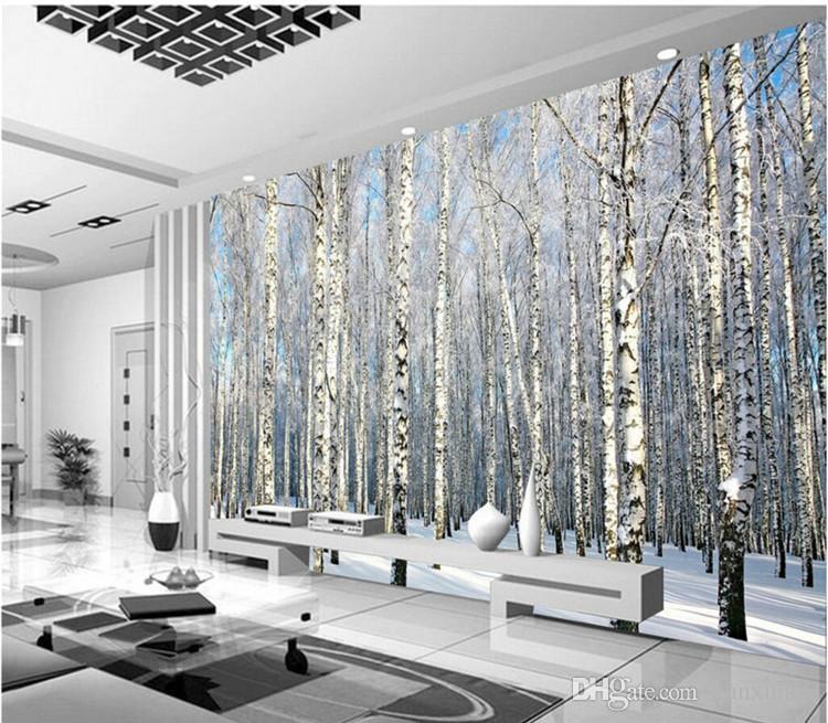 사용자 지정 모든 크기 사진 배경 벽지 겨울 눈 자작 나무 숲 예술 벽 덮여 BedRoom 벽화 현대 벽지 벽 장식