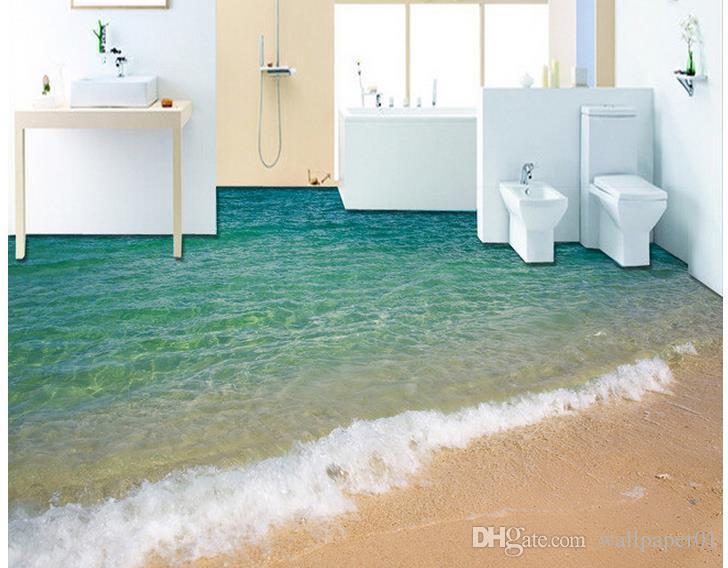 Peinture au sol moderne 3D bord de mer surf plage peinture murale Mural-3d  PVC papier peint plancher auto-adhésif Wallpaper-3d