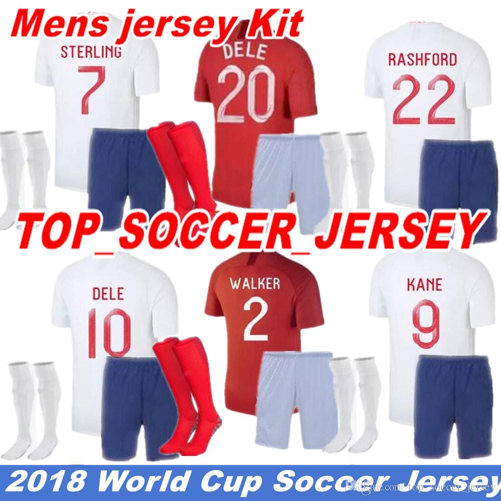 b290f57a31 Compre 18 19 Copa Do Mundo De Futebol Jersey Inglaterra Kit Dos Homens  Rooney Casa Fora Kane Sturridge Sterling Henderson Vardy 2019 Em Casa Longe  Camisa De ...
