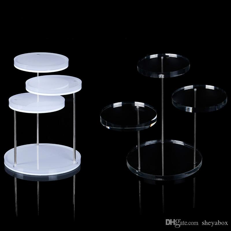 Gemstone Ring Charms Display Stand Small Round Table White Clear Acrylic Boutique Counter Showcase Jewelry Exhibition Hot