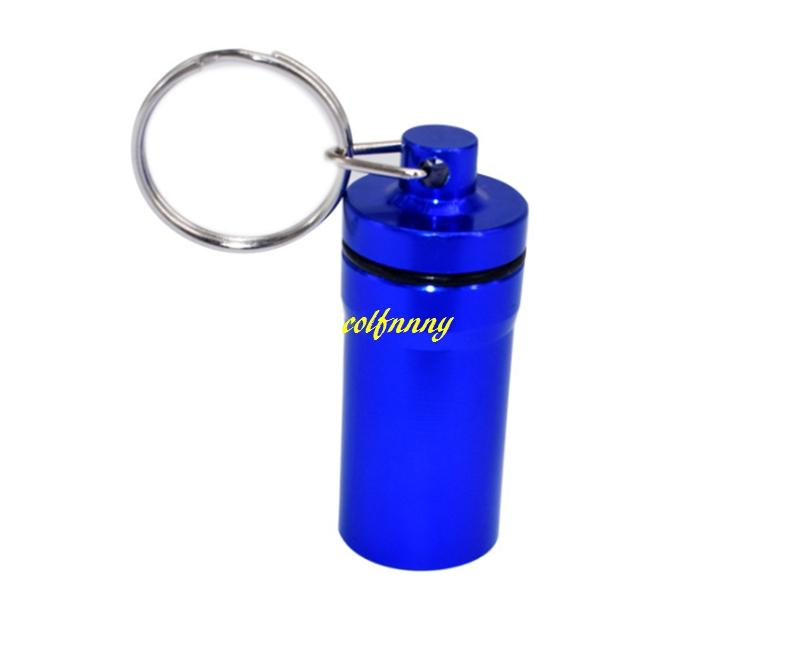 wholsale 22x52mm Protable Keychain WaterProof Aluminum Pill Box Case Bottle Holder Container For Travel