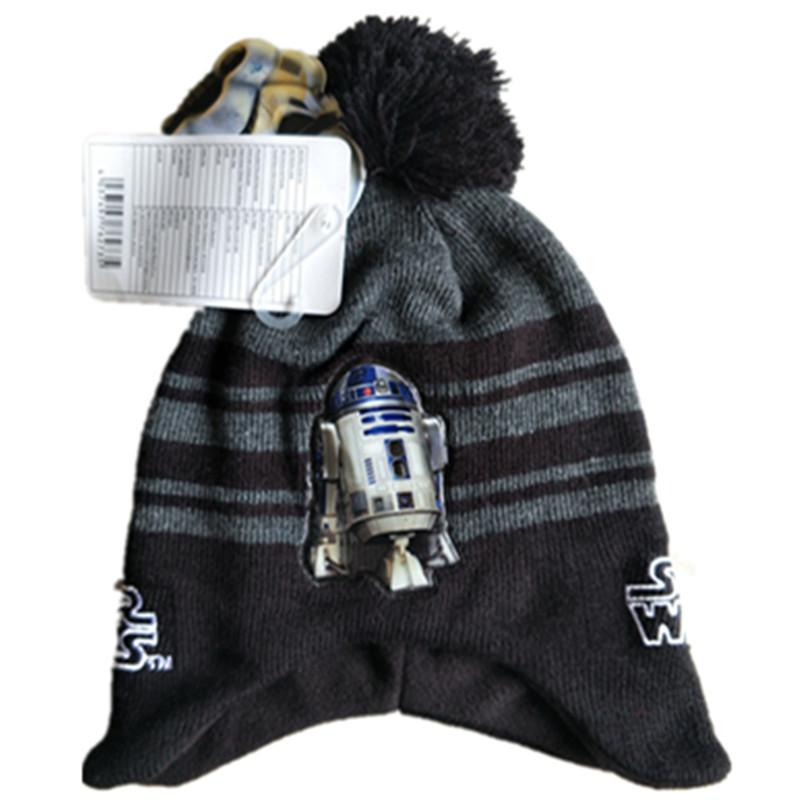 6d2cb6a8840 2019 Wars Darth Vader Stormtrooper R2D2 Robot Knitted Cap Cartoon Fashion  Mask Beanies For Adult Kid Cap Winter Warm Hats With Pom From Yvonna