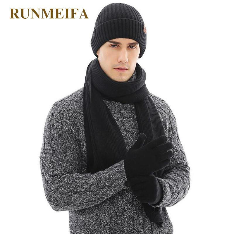 7f33d24f8f3ae 2018 New arrival Fall Winter Warmer for Men s Pure Color  Hat scarf Touchscreen gloves Gifts in stock