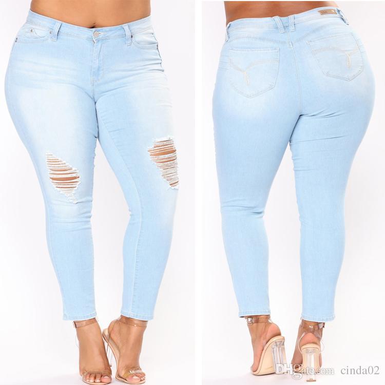 Hole Ripped Jeans Women Pants Cool Denim Vintage Pencil Jeans For Girl Mid Waist Casual Pants Female Slim Jeans Plus Size 2XL-7XL