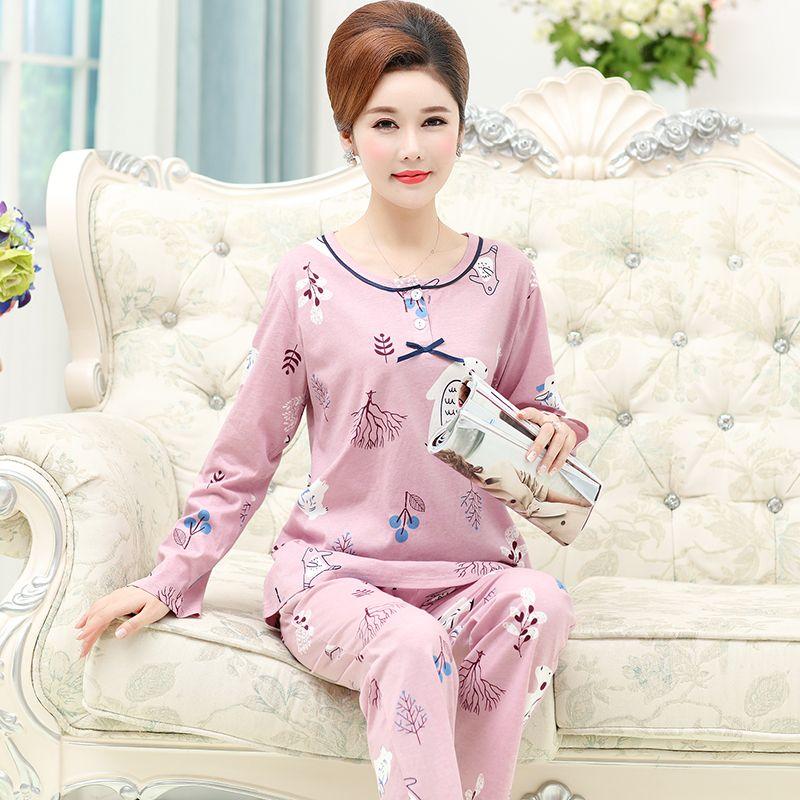 42b6b94d8 Womens Pajamas Sets Autumn Pink Pajama suit Women Lovely Cartoon Animal T- Shirts + Pants 2 Pieces Pijamas Mujer Plus Size M-4XL