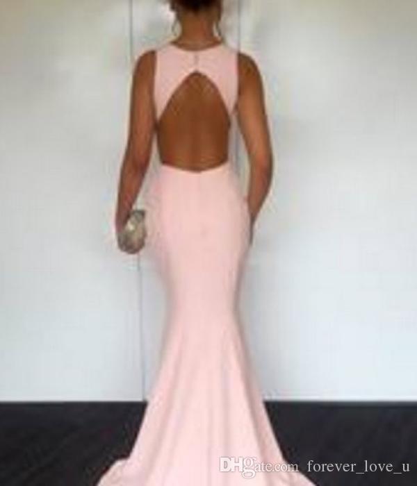 Sexy Русалка Вечерние платья Jewel шеи без рукавов Cut Out Backless дизайн Простой, но элегантный Пром платья сшитое