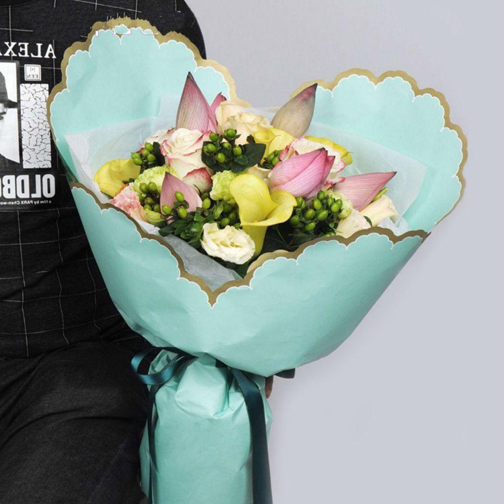 Heart Rippled Edge Florist Flower Packing Paper Fresh Korean Wrapping Paper New Arrival Waltz Wave Florist Decoration