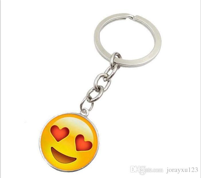 À La Mode Smiley Face collier Emoji pendentifs Sourire porte-clés Smiley Visage porte-clés bijoux Happy Pendan Cadeau J083