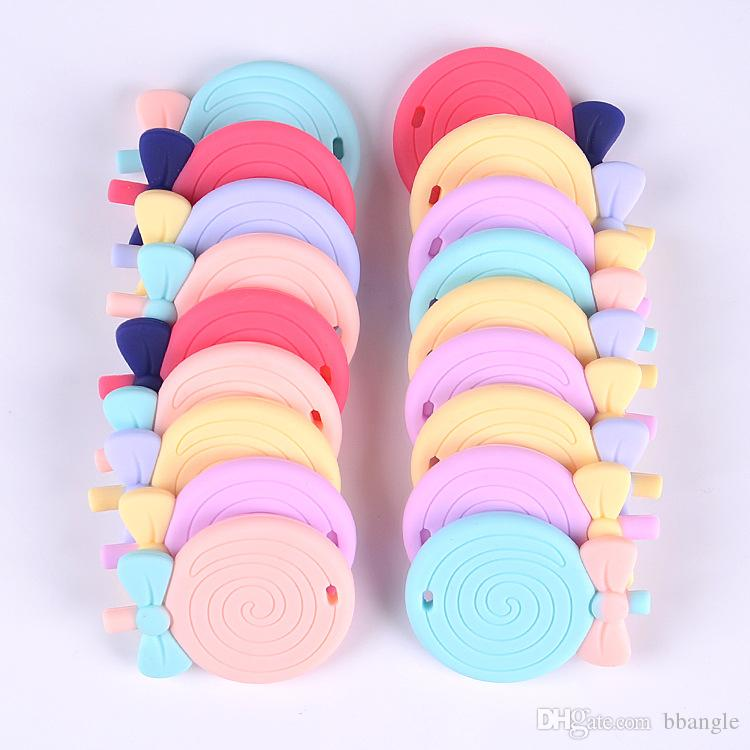 Round Lollipop Teether Teething Pendant Food Grade Silicone Baby Chew Toy Bowknot Candy Teething Beads Chewable Sensory Necklace