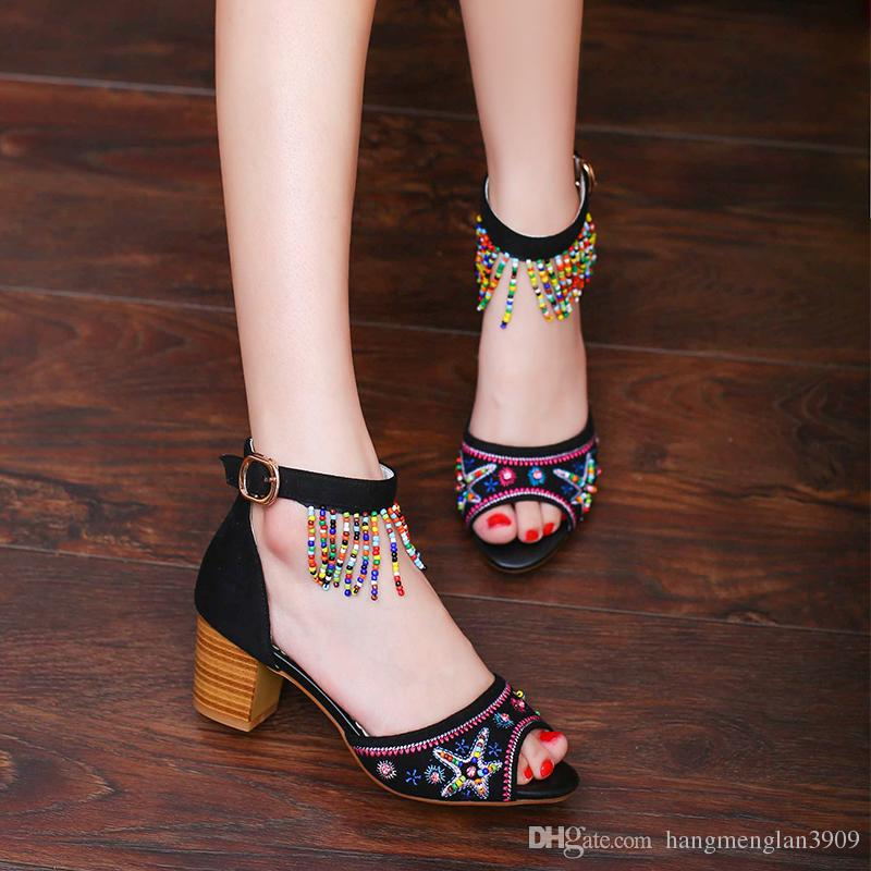Women's sandals high heels fish mouth vintage embroidered women's shoes flowers water diamonds beads chains One word buckle college wind