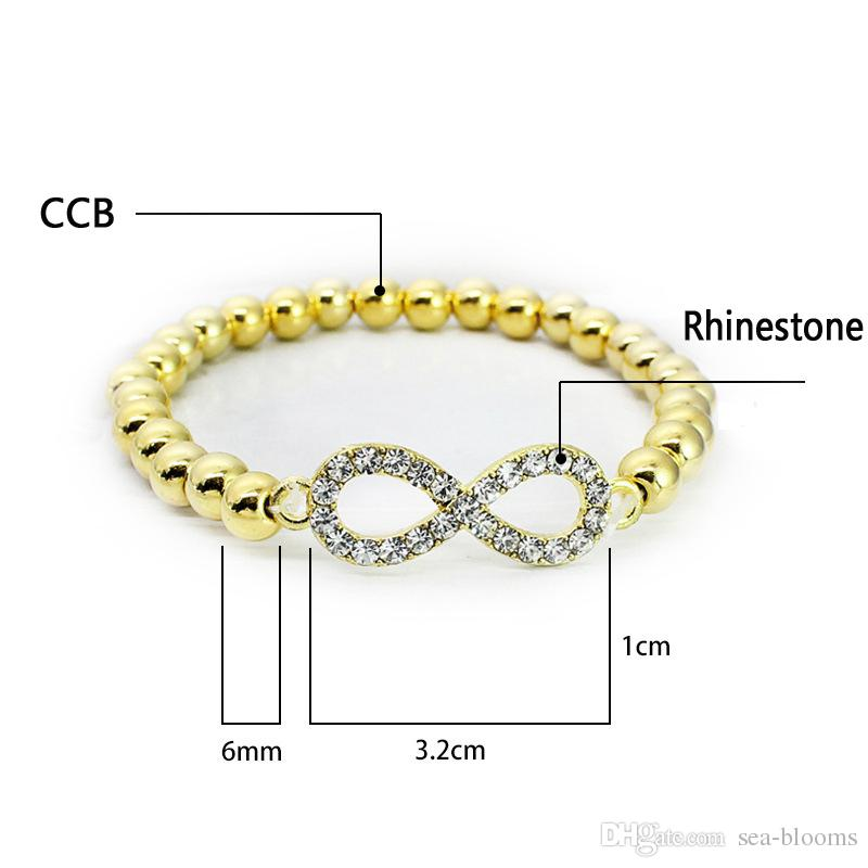 CCB Beads Bracelet Rhinestone Crystal Cross Love Infinite Sign Words 8 Bracelet Gold/Silver For Women Girls Fashion Jewelry Free DHL G376S