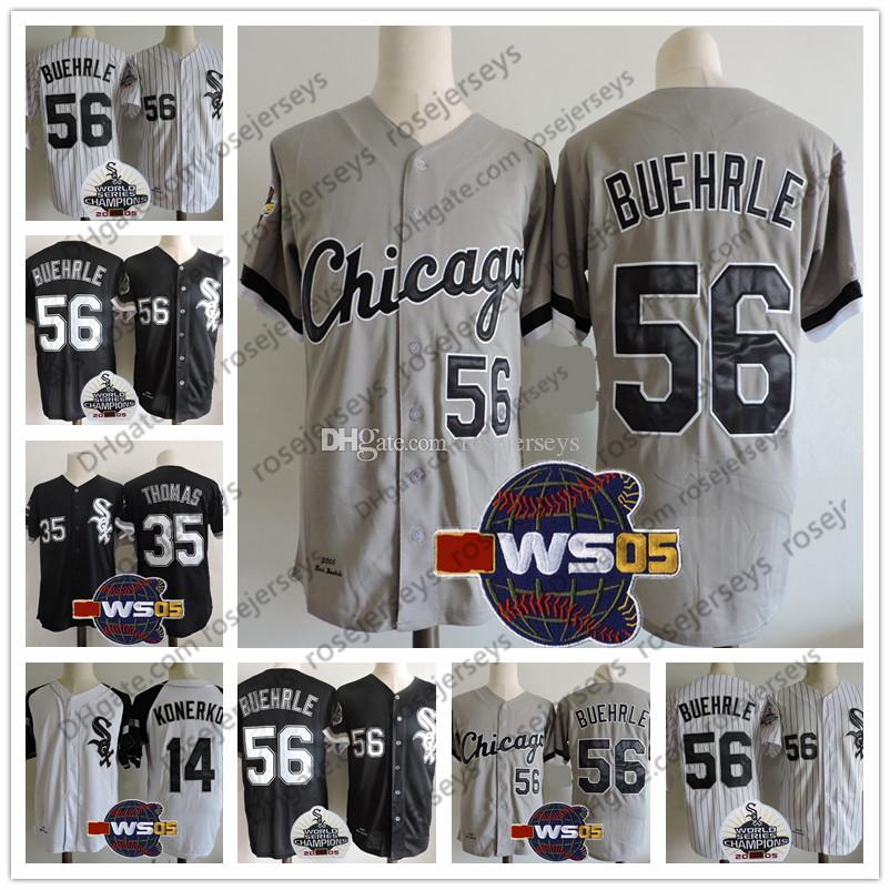 d23c4cfaf 2019 Chicago  56 Mark Buehrle 2005 WS Vintage Jerseys 14 Paul Konerko 35  Frank Thomas White Black Gray Stitched Retro Champions Patch S 3XL From  Rosejerseys ...