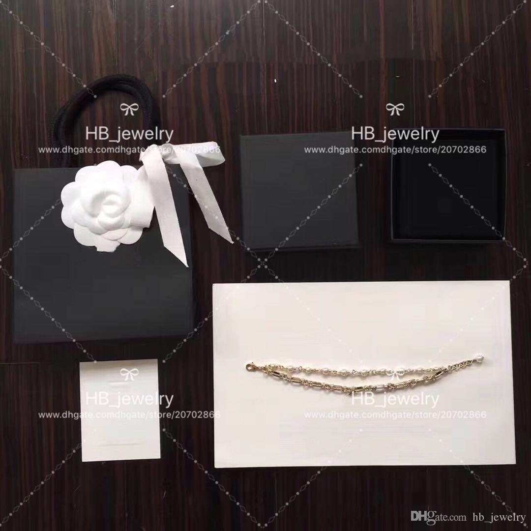 Popüler moda marka yüksek sürüm çift inci bilezik lady tasarım kadınlar için parti düğün lüks Takı kutusu ile gelin için.