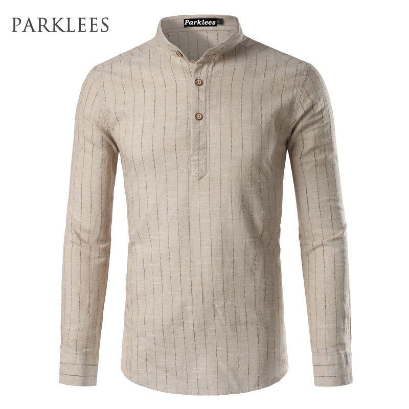 feb998aca19b79 2019 Linen Shirt Men 2017 Brand High Quality Mens Cotton Linen Dress Shirts  Casual Slim Fit Long Sleeve Striped Chemise Homme Camisa D18102404 From  Shen07